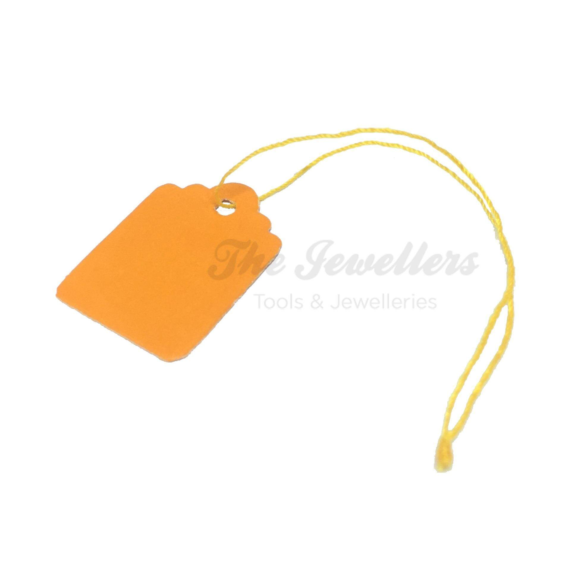 450+-pcs Rectangular Shape Orange Colour Jewellery Price Tag with Thick Yellow Thread