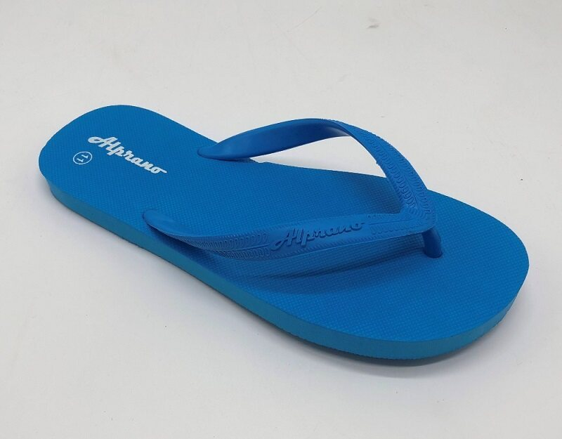 Alprano APM-01 Rubber Anti Slip Flat Slippers Beach Slippers Men Designs Size 9-11 (UK Size 9) (L.Blue)
