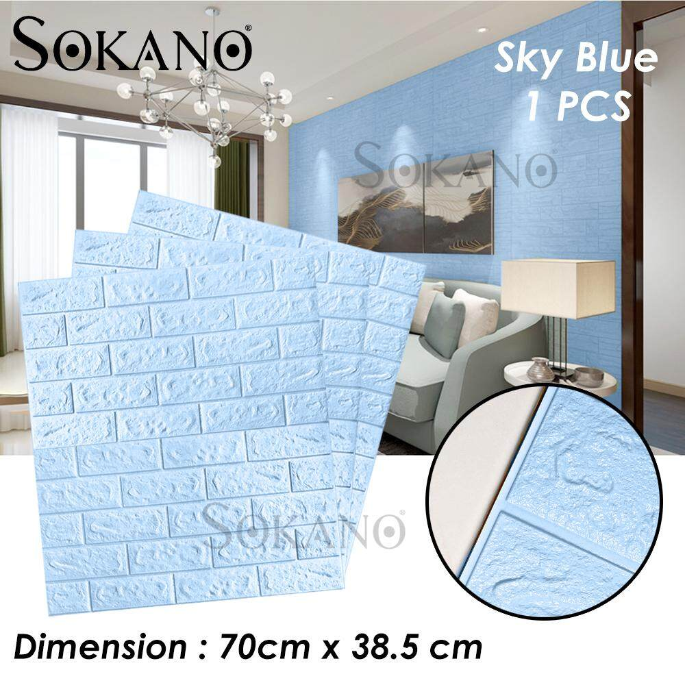 SOKANO 70x38.5cm PE Foam 3D Wall Stickers Safety Home Decor Wallpaper DIY Wall Decor Brick Living Room Kids Bedroom Decorative Sticker