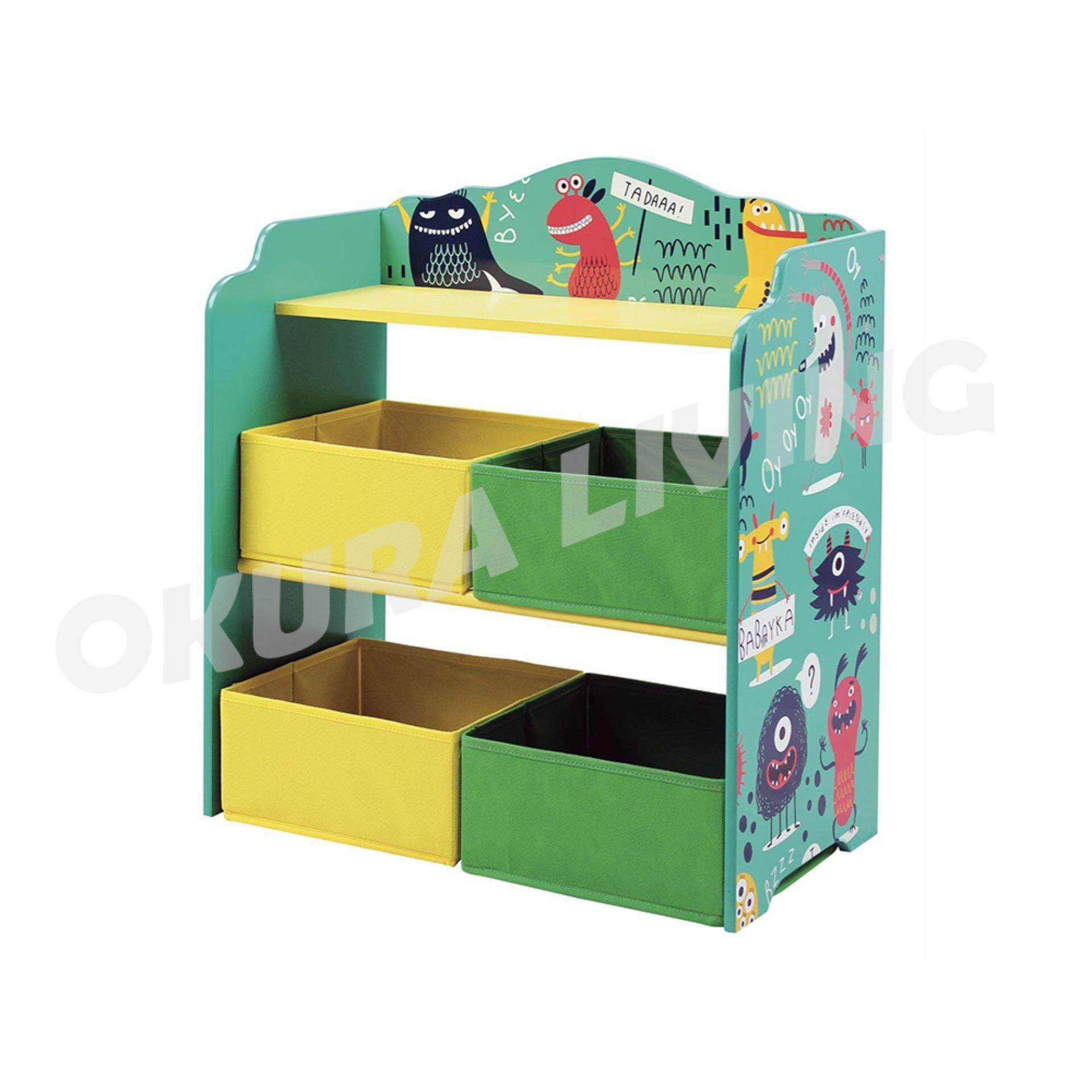 OKURA Kids Toy Organizer / Storage Rack with 4 Storage Box