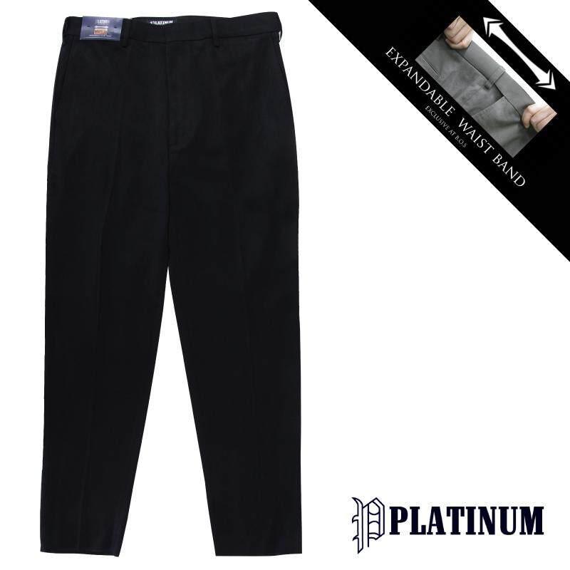 PLATINUM BIG SIZE EWB Flat Front Slacks PM659 (Black)