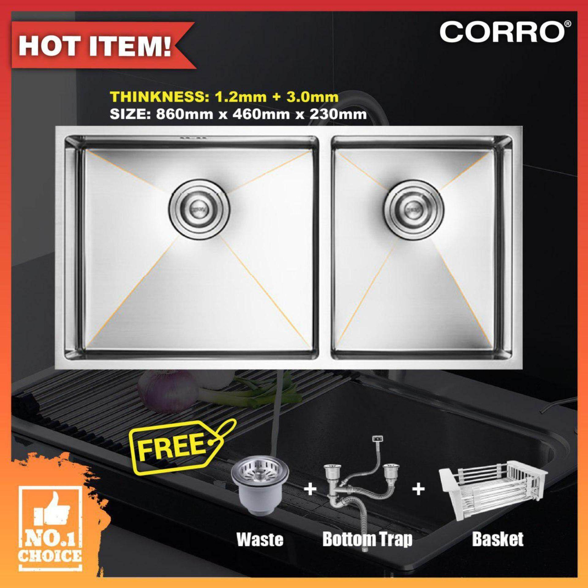 CORRO High Quality SUS304 Double Handmade Kitchen Sink-(CCH86460-30D)