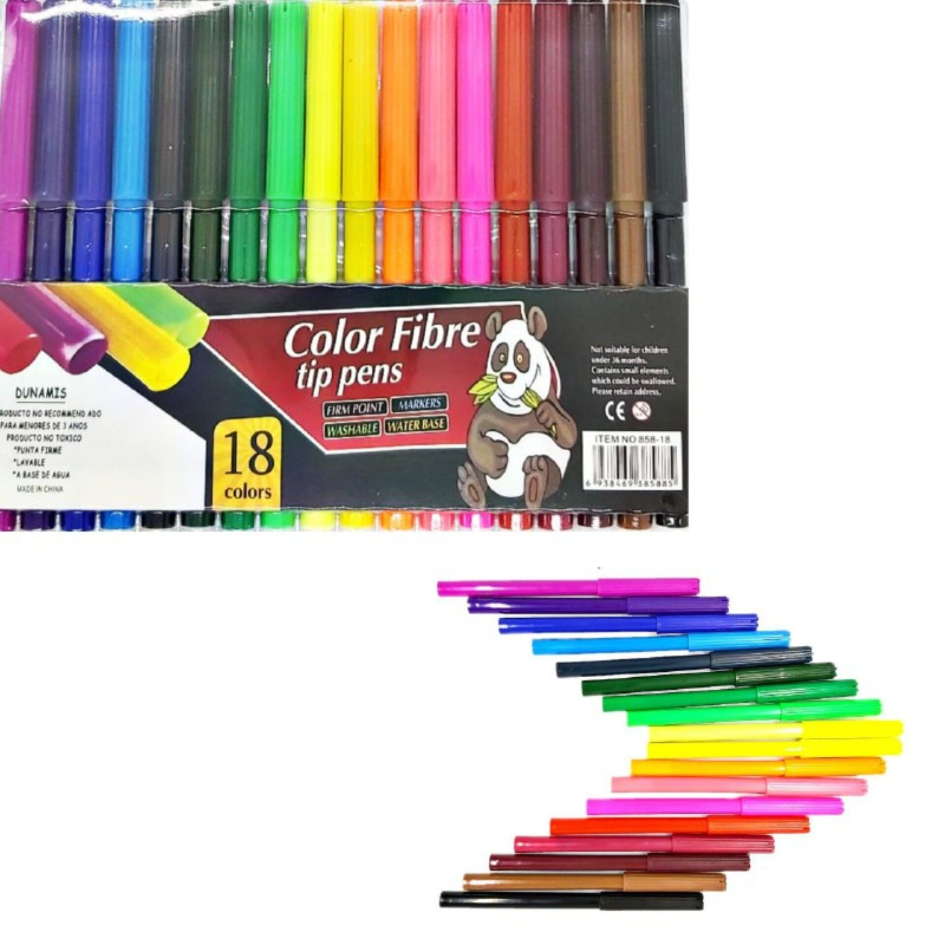 18 Colour Fibre Tip Pens