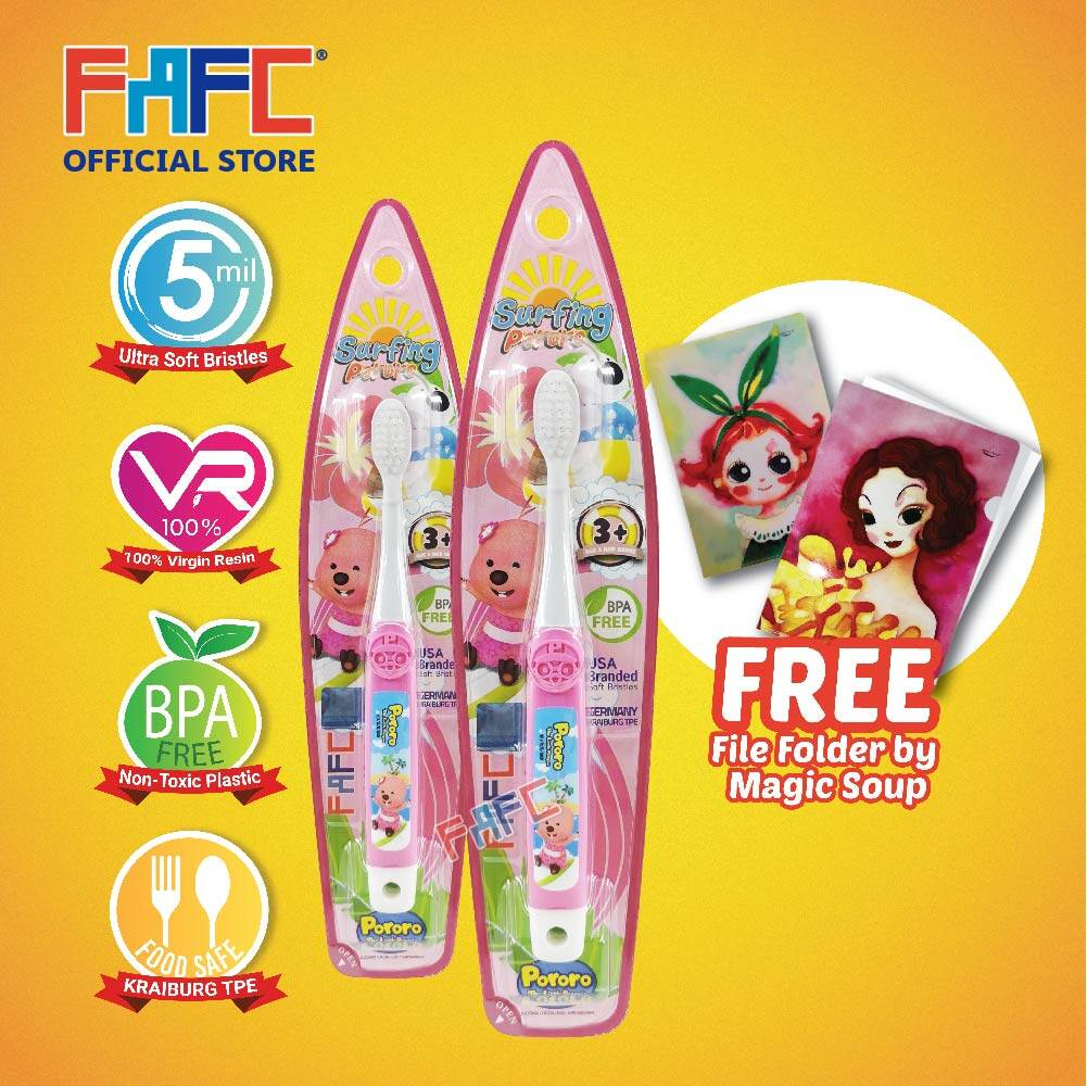 Loopy & Loopy - (2 Pcs) FAFC Pororo Hook Kids Toothbrush FREE Magic Soup File Folder