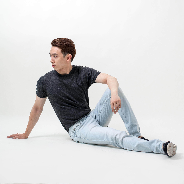 MEN'S DENIM LONG PANTS - MATCHING SEWING LINE + BLEACHING WASH EFFECT B99-60588-NSK#1