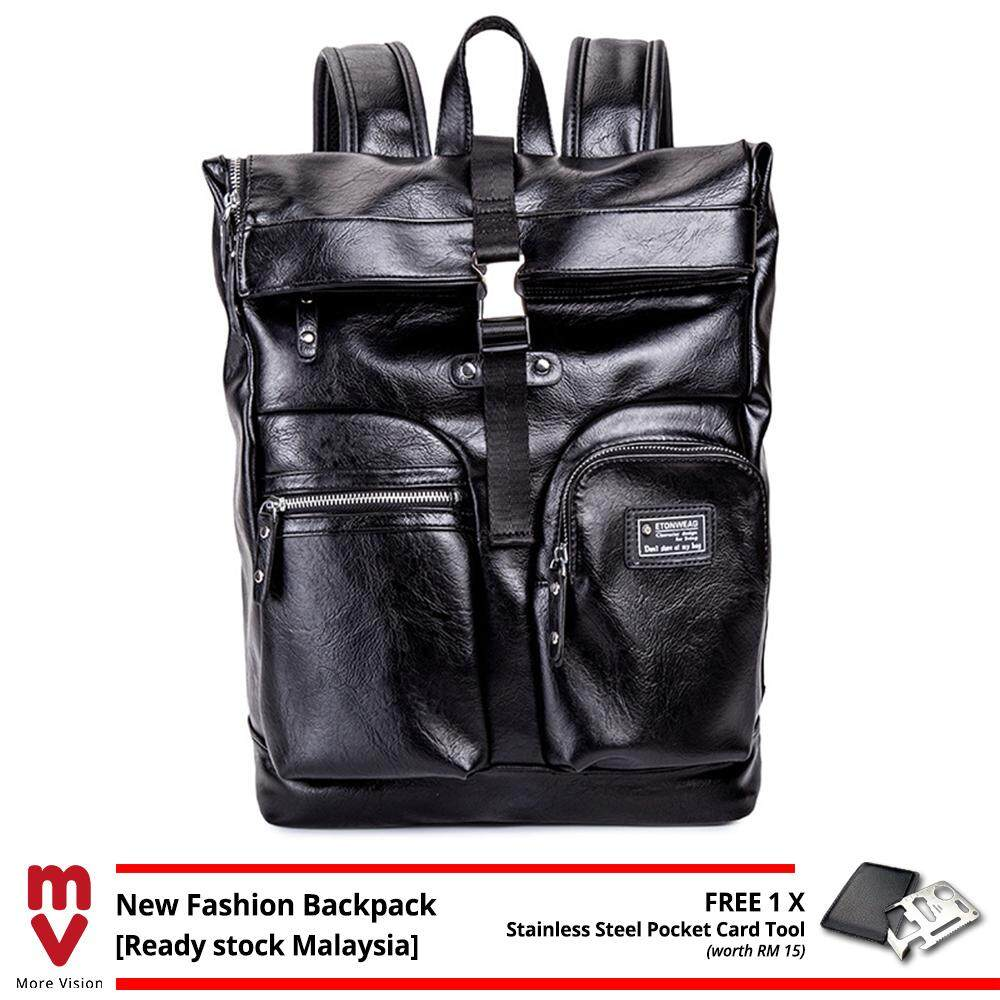 MV Bag Leather Backpack Black Durable Large Laptop Beg Fashion Casual Outfit Waterproof Travel, Study, Student Bag MI5411