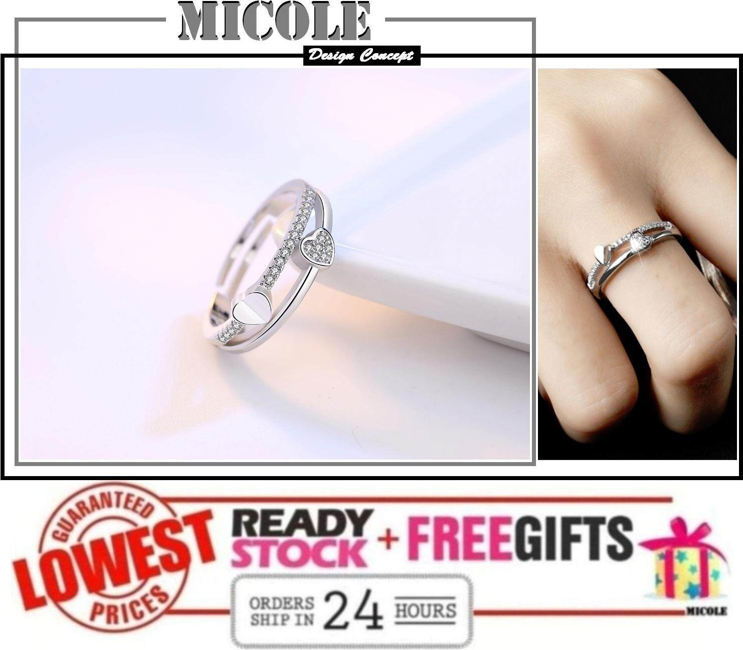 MICOLE RF3004 White Gold Plated Adjustable Ring Cincin