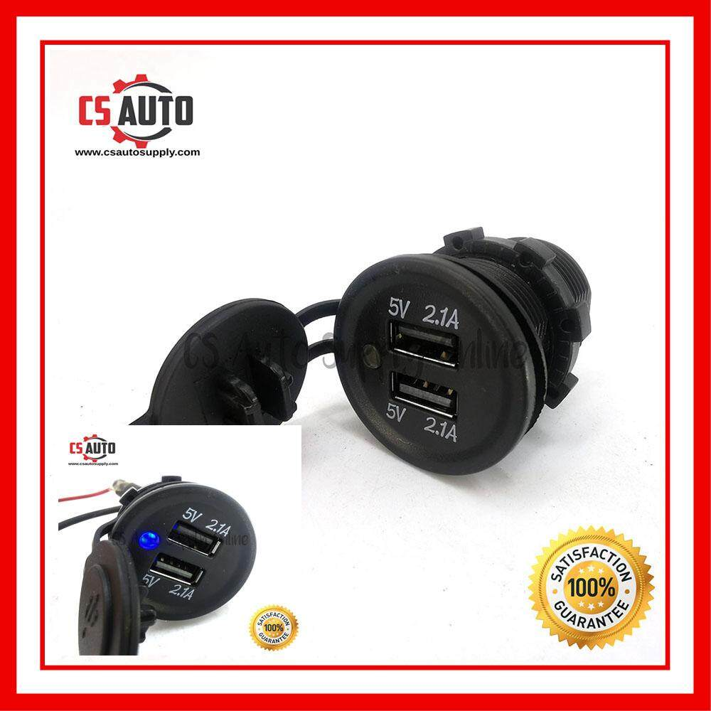 [cs auto] Dual 12V 24V 2 USB Car Truck Cigarette Lighter Socket Charger Plug Power Adapter Outlet ready stock