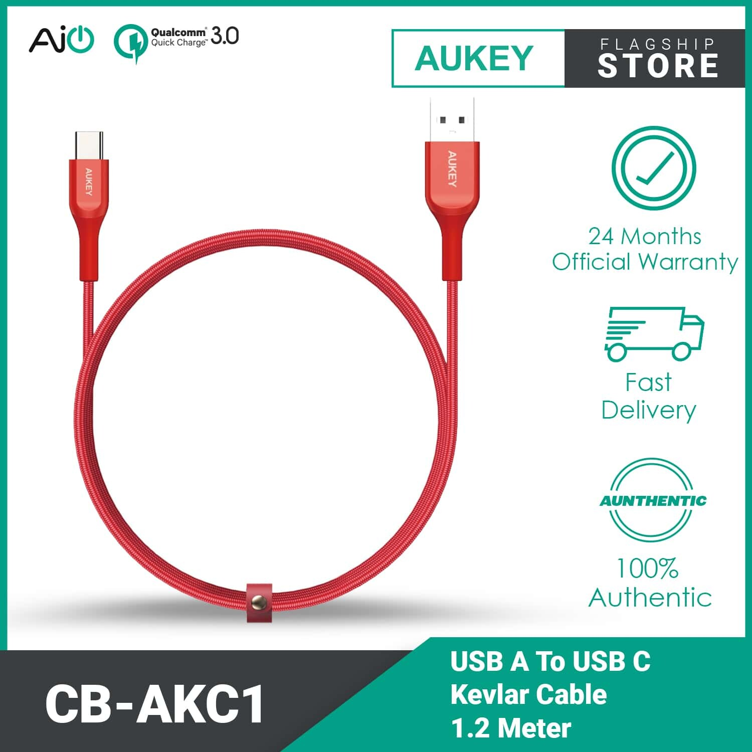 Aukey CB-AKC1 USB A To USB C Quick Charge 3.0 Kevlar Cable - 1.2M