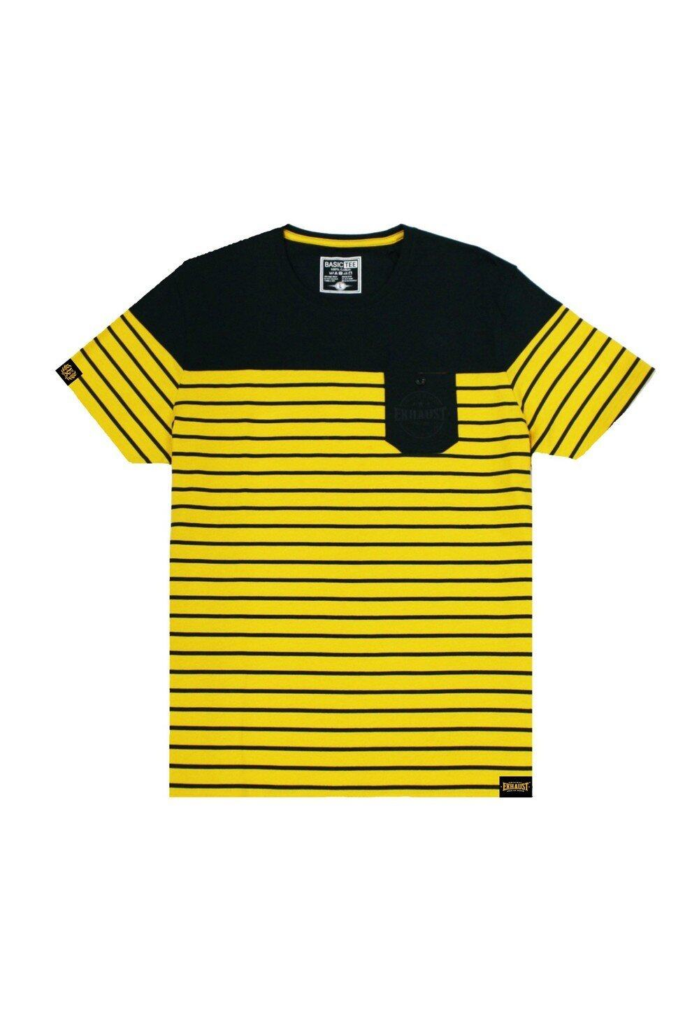 Stripe print with cut&sew and pocket