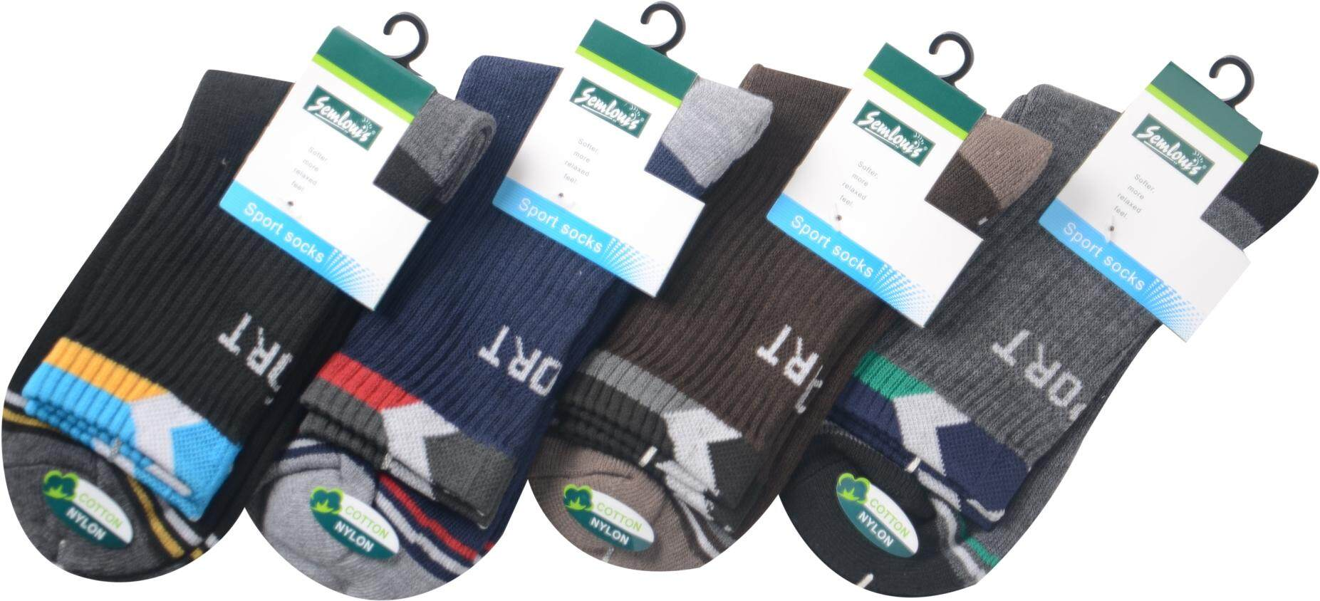 Semlouis Quarter Crew Sport Socks with Cushion Base - Assorted / PAIR