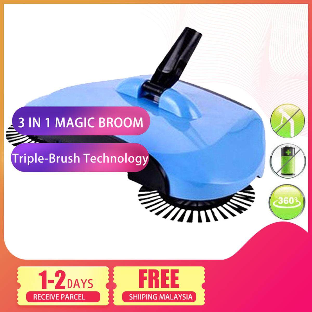 DELLY AUTOMATIC SMART HAND 3IN1 PUSH MAGIC BROOM SWEEPER MOP HOME HOUSE BLUE COLOUR BR-11B