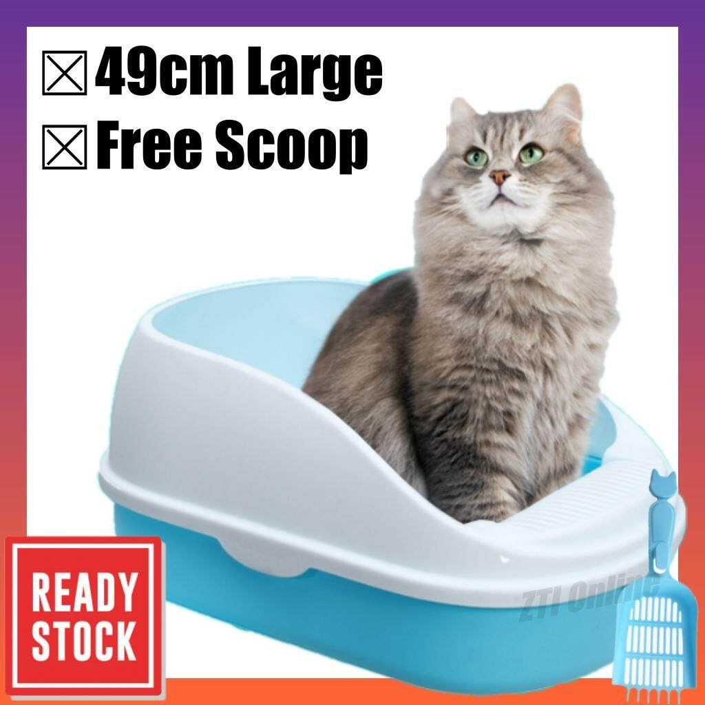 Large Unbreakable New Design Cat Litter Box Tandas Kucing 49cm x 34cm x 23cm (Free Scoop)