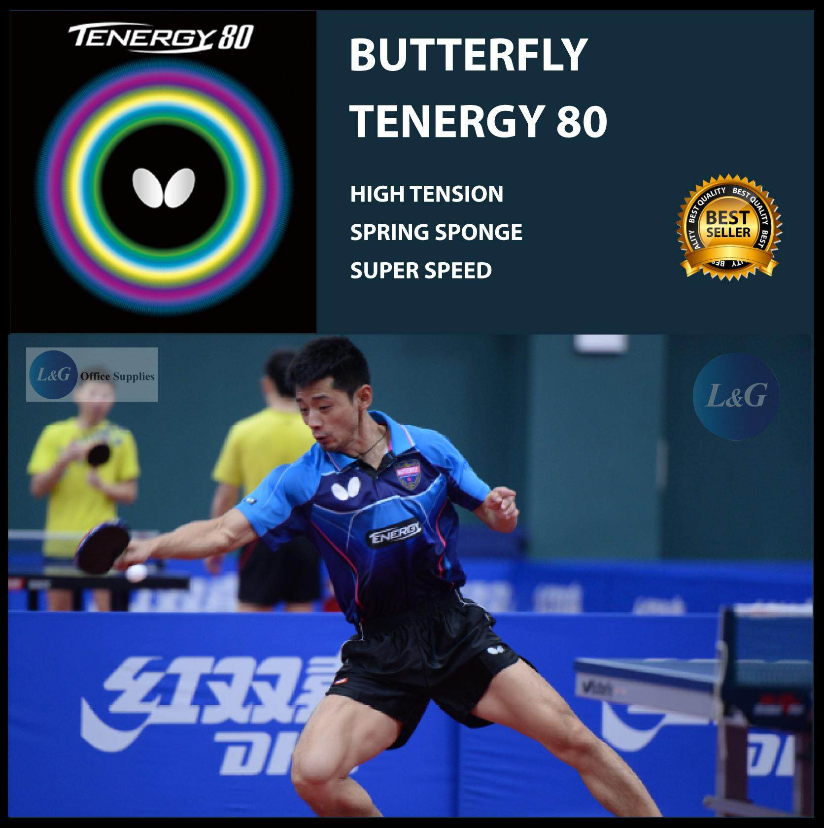 BUTTERFLY Tenergy 80 Spin-Elastic Inverted Table Tennis Ping Pong Rubber 2.1mm Made In Japan ITTF Approved