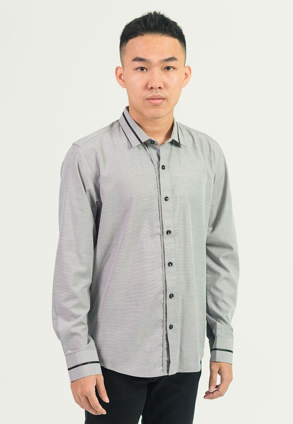Plaid Formal Long Sleeves in Grey