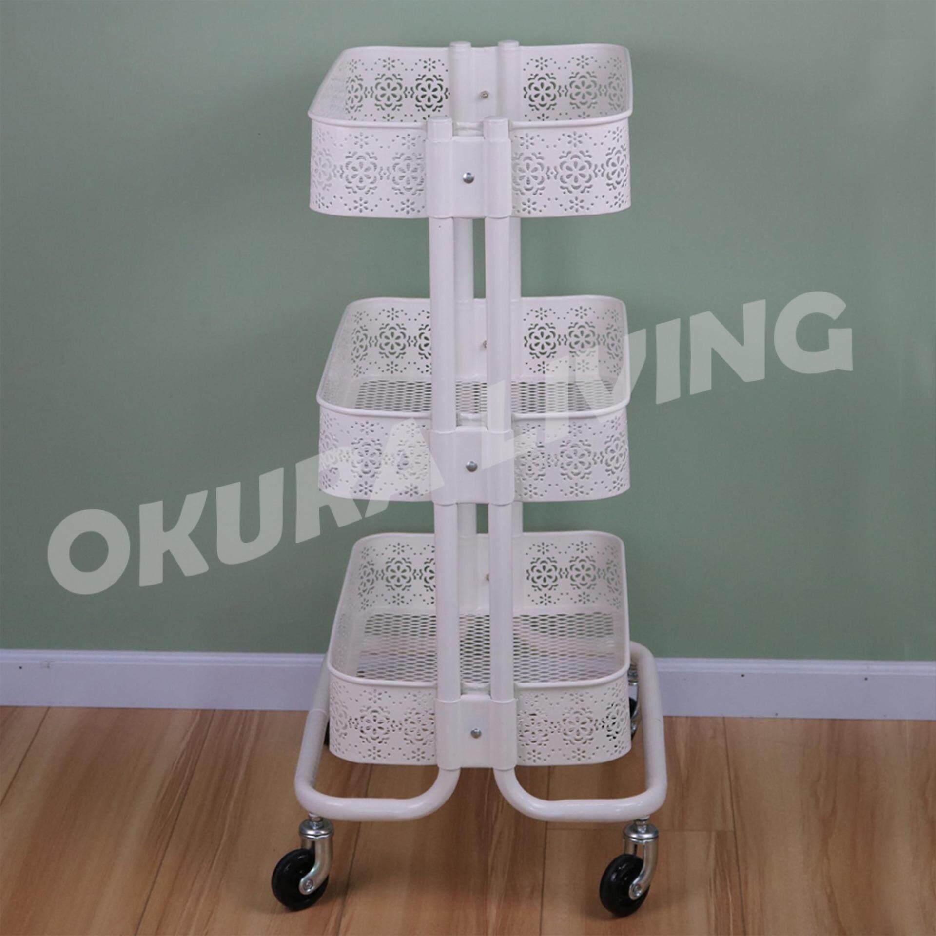 OKURA 3 Tier Trolley with Flower Craving Multi-Function Storage Organization