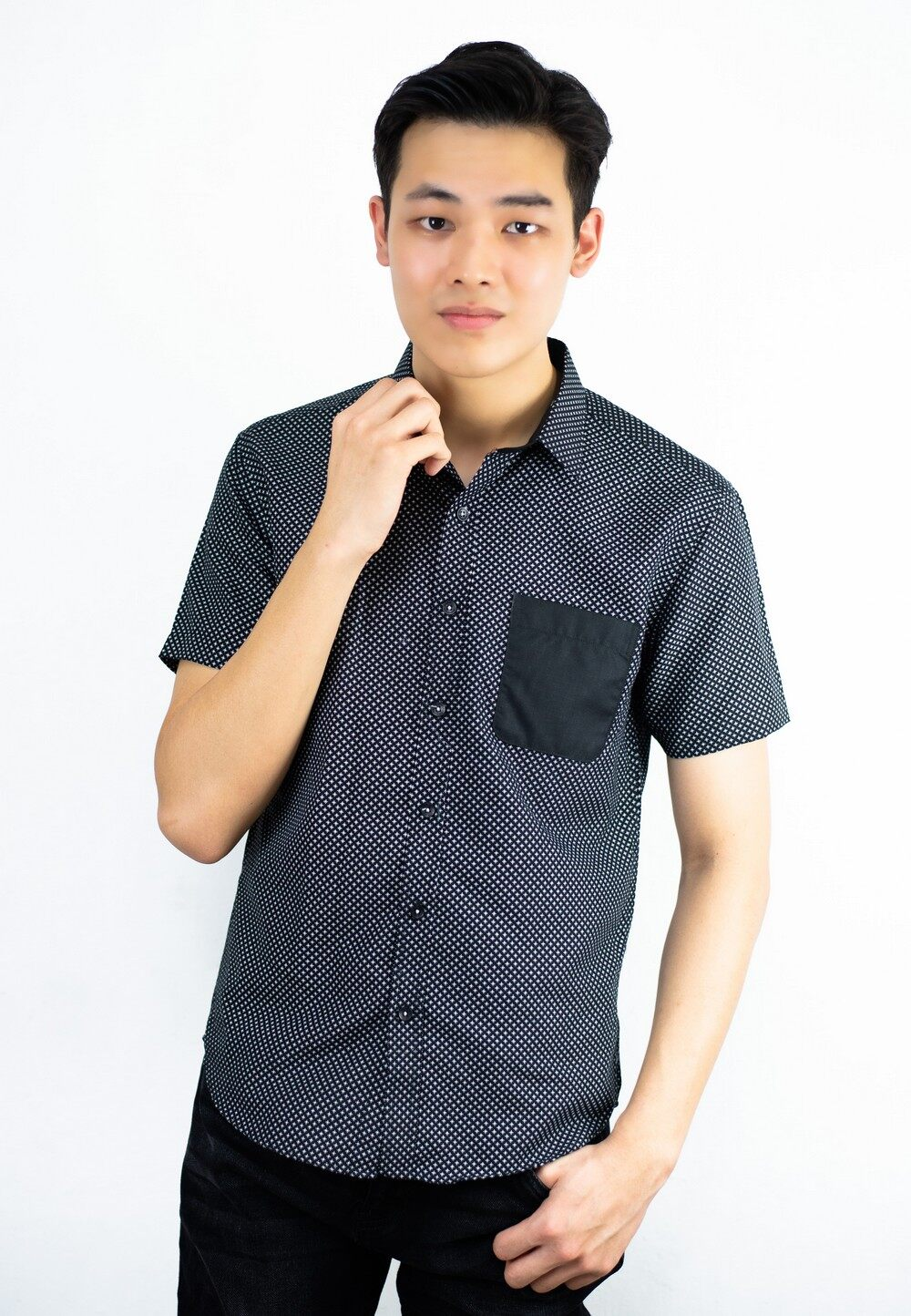 Smart Look Shirt with Contrast Pocket and Dot Printing