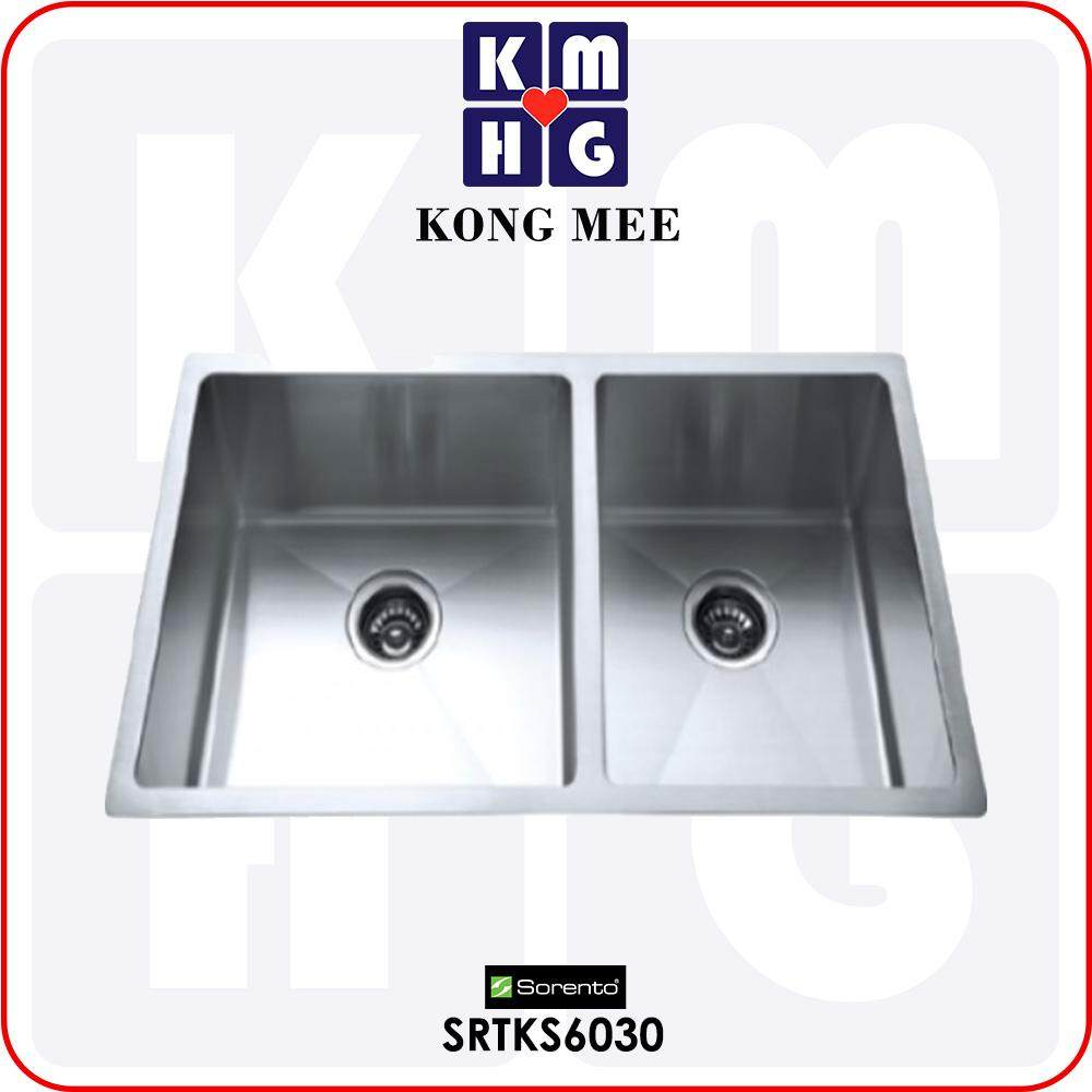 Sorento Italy - Camellia Series Double Bowl Undermount Kitchen Sink (SRTKS6030) Two Basin Stainless Steel 304 Handmade Low Noise Anti Rust Under Mount Modern Restaurant Home Kitchen Eating Food Cook Chef Wash Dishes Water Soap Tap Faucet Cleaning