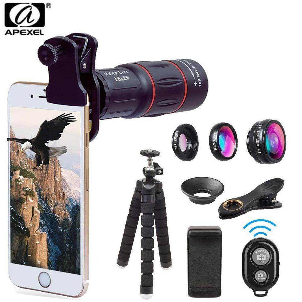 Apexel Multifunction Cellphone Lens Kit, with mobile holder, tripod and Remote Shutter for Smartphone APL-T18XBJZ5 for Apple Iphone Huawei Vivo Oppo Samsung P20 P30 S10 Travel Protable