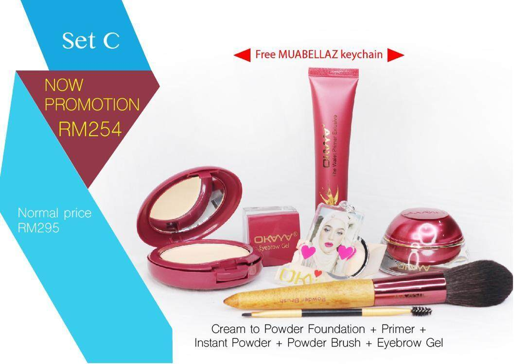 [SALE!] - OKAYA SET C ( CREAM FD + PRIMER + COMPACT+ EYEBROW + POWDER BRUSH + KEYCHAIN )