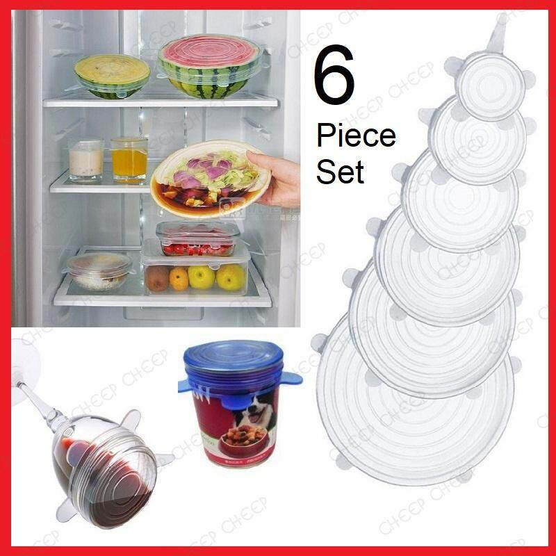 6 pieces Reusable Super Stretch Silicon Lids Universal Food Storage Silicone Cover Durable BPA-Free Fresh Expandable Stretchable Fits Various Shapes & Sizes Container Bowl Can Tin Jar Refrigerator Microwave Friendly