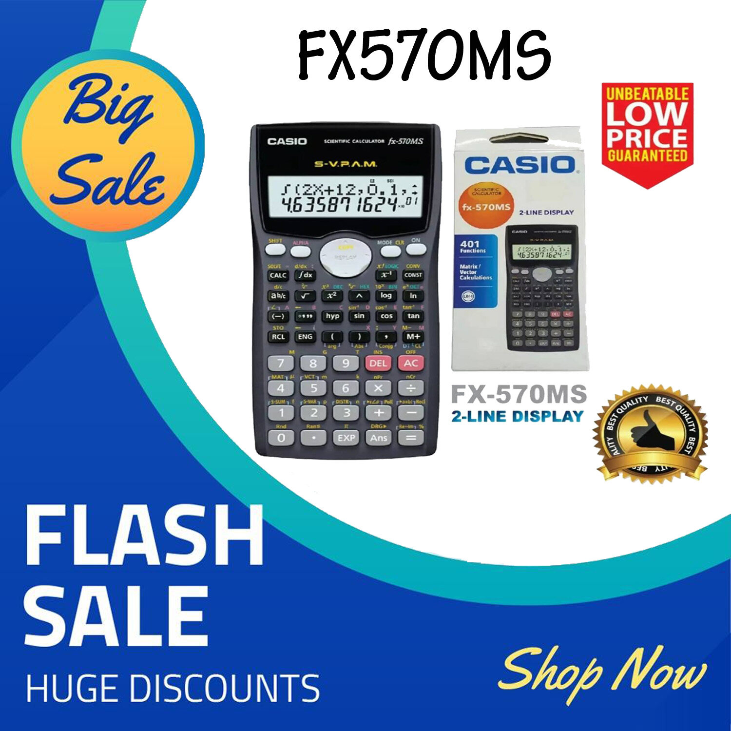 Casio Scientific Calculator FX-991MS FX-570MS FX-570EX FX-570ES PLUS (Unbeatable Low Price) Very Fast Shipping (FX570MS)