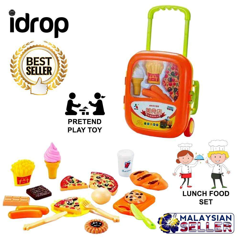 Food Lunch Box Pretend Play Toy Set With Trolley For Kids Children baby toys -