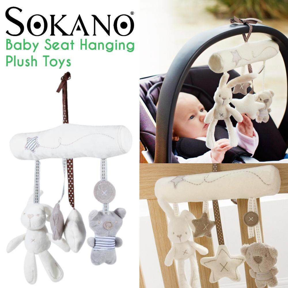 SOKANO Cute Rabbit Bear Star Design Grey Colour Baby Infant Stroller Toys Cot Car Safety Seat Hanging Sounding Cartoon Plush Toys
