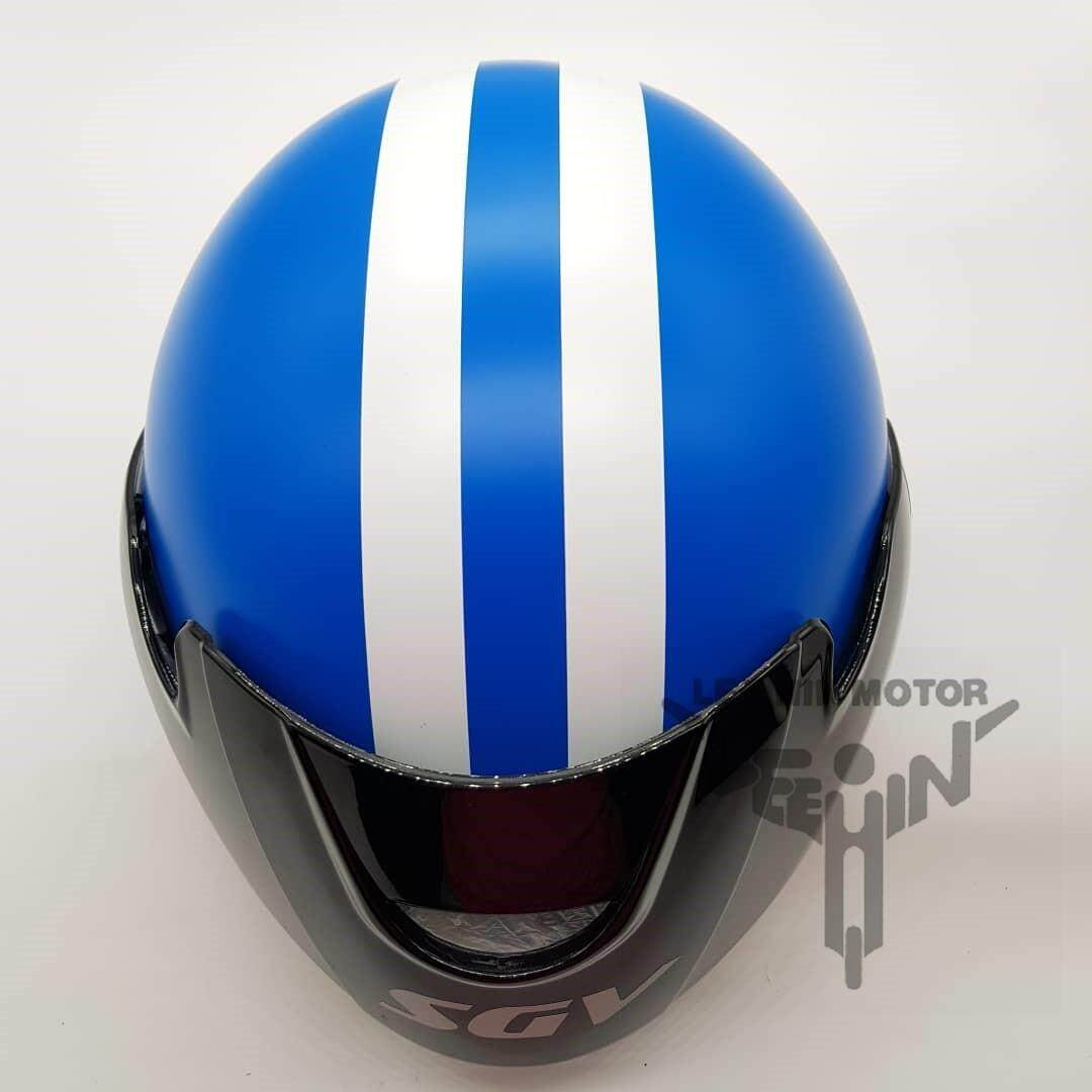 Original SGV Stripes Cruiser Matt Colour Helmet ( Matt Blue ), Chrome