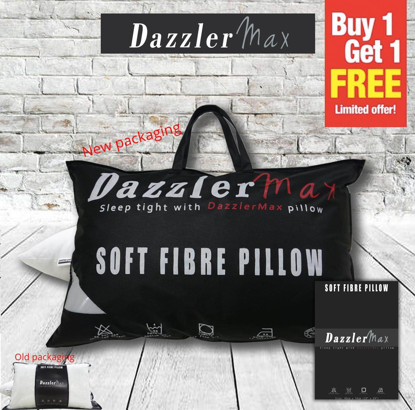 Dazzler Max Soft & Comfortable Polyester Fibre Five Star Bedding Good Quality Hotel Pillow Large Size 19''x29''  {Buy 1 Free 1}