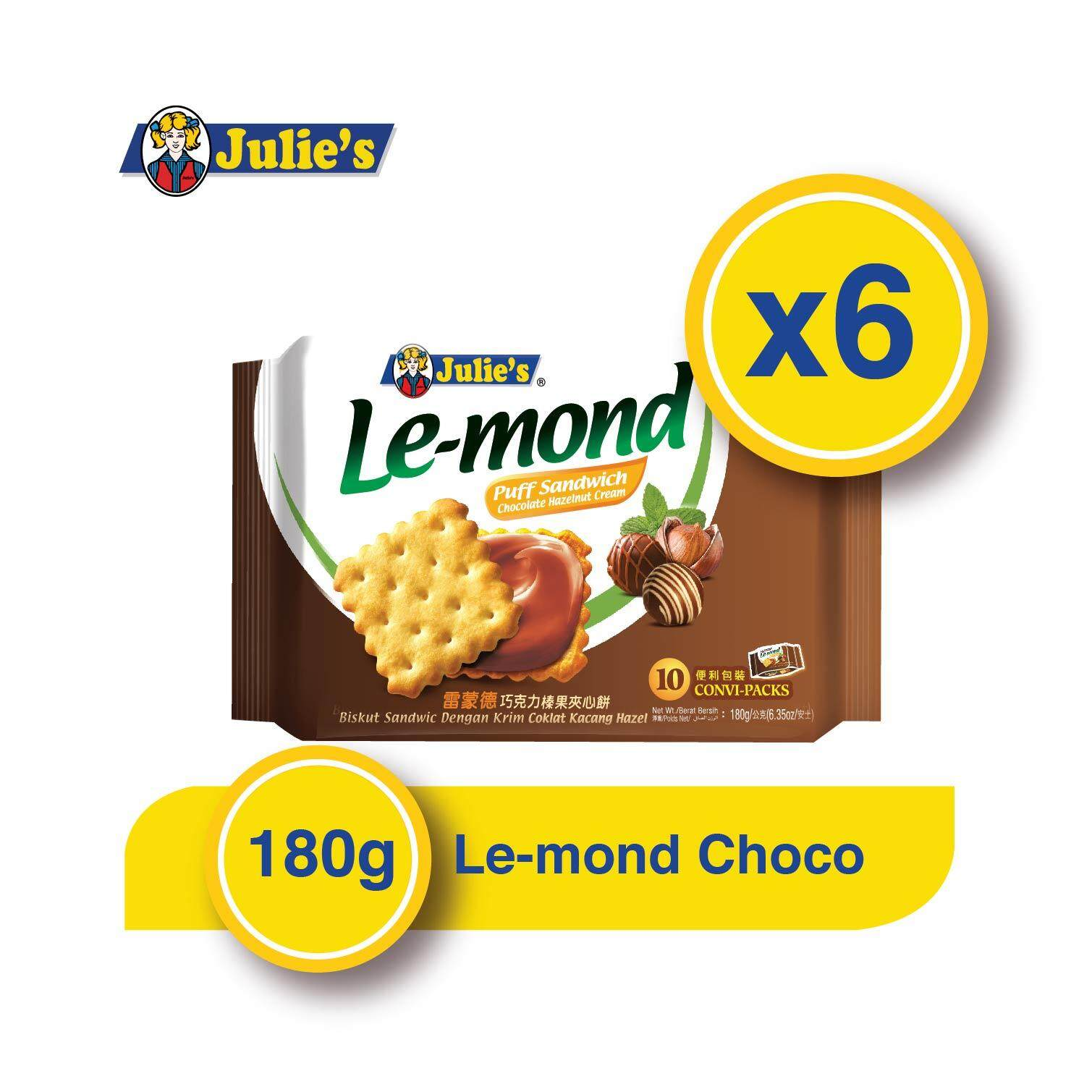 Julie's Le-mond Chocolate Sandwich Biscuit 180g x 6 packs + Free 5 pack Convi pack Biscuit
