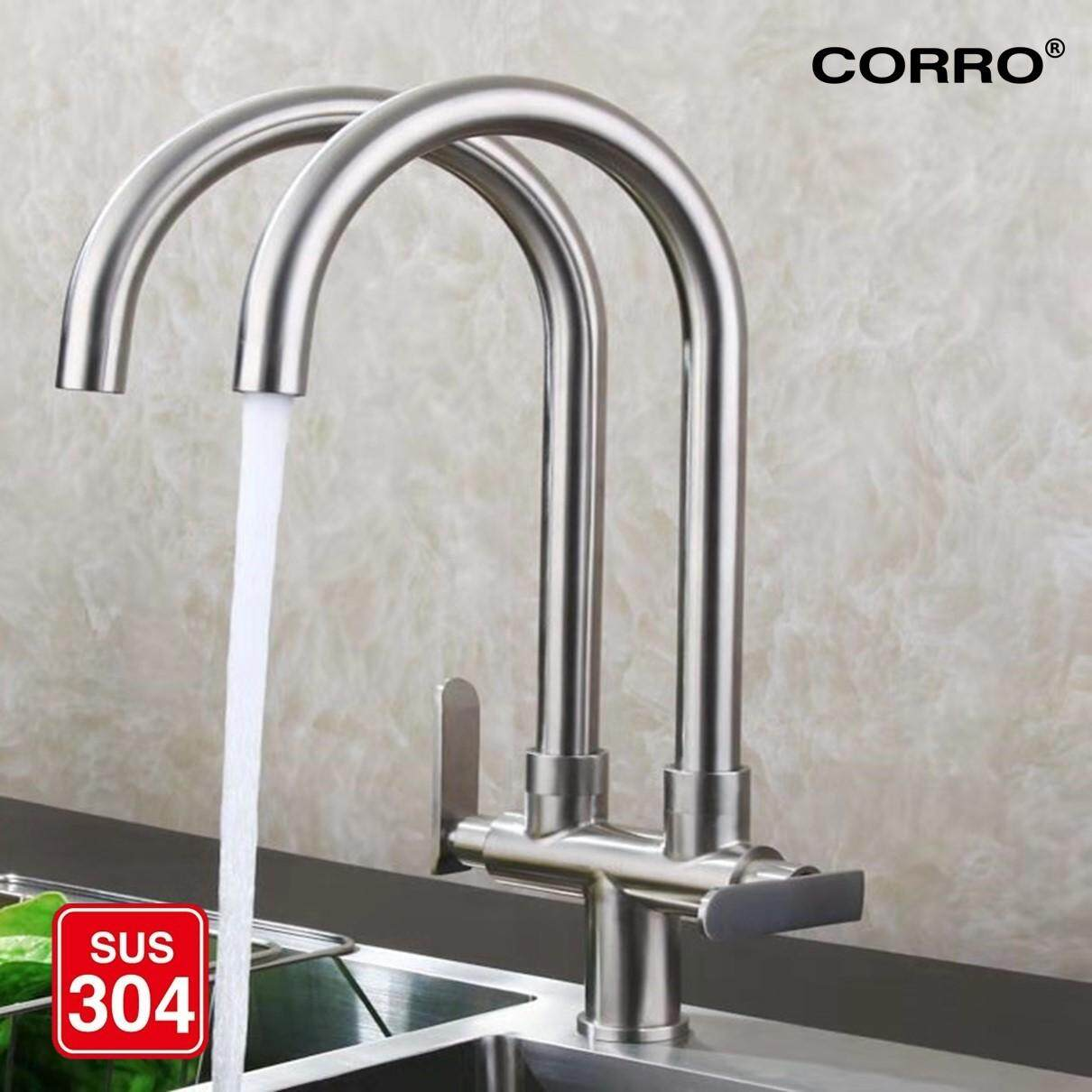 CORRO SUS304 Stainless Steel Double Twin Hose Kitchen Faucet Pillar Sink Tap