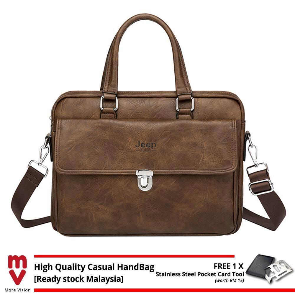 Jeep Buluo Men Handbag Business Vintage Briefcase Leather Sling Shoulder Messenger Bag Shoulder Laptop Beg Purse Wallet MI5472