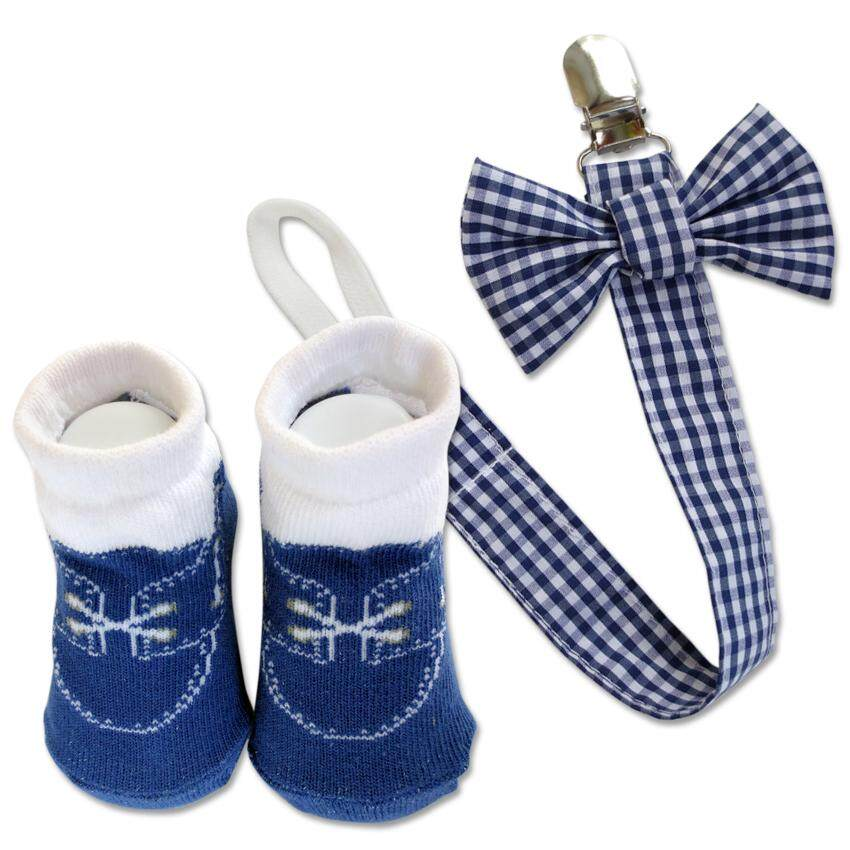 Bumble Bee Baby Pacifier Clip with Socks Set (Tiny Blue Checkered)