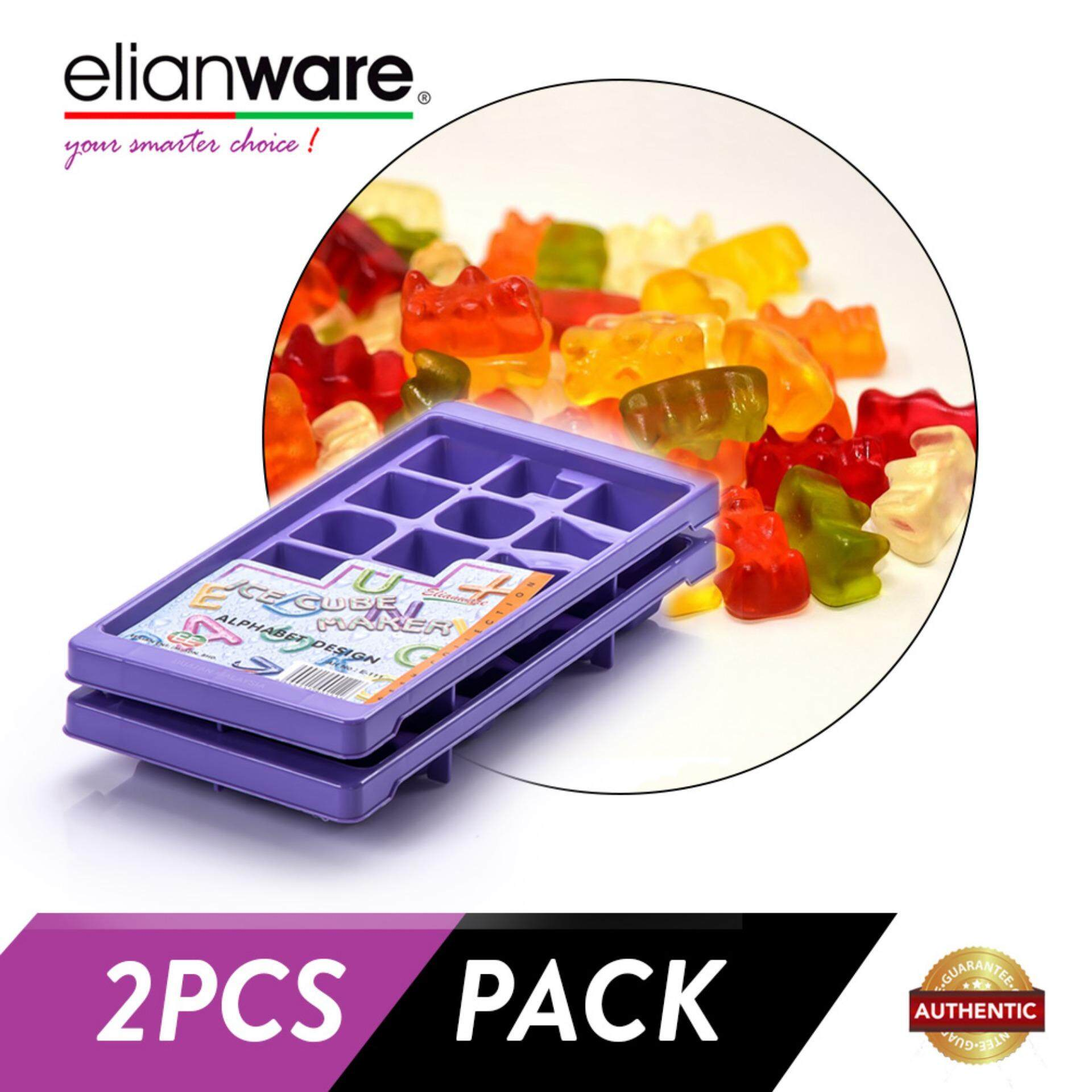 Elianware 2 Pcs ABC Stackable Ice Cube and Jelly Mould BPA Free