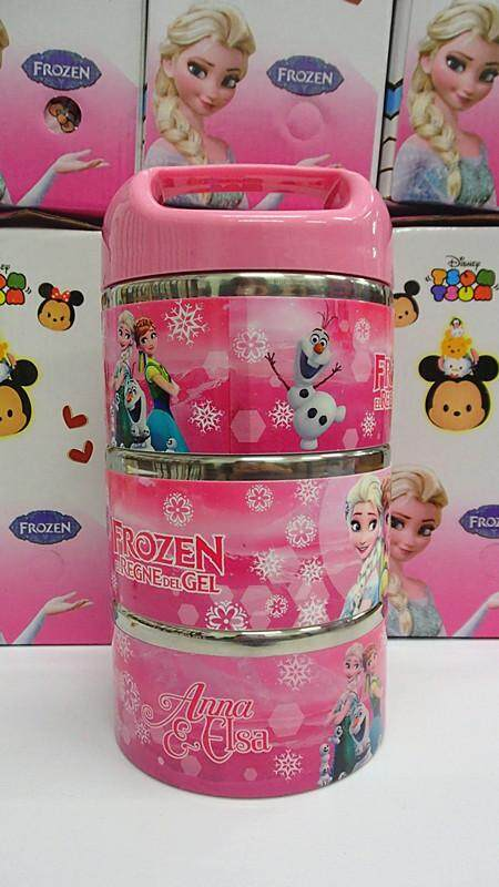 [Ready Stock] 3 Layers Stainless Steel Cartoon Lunch Box (BGJAYA)-Frozen