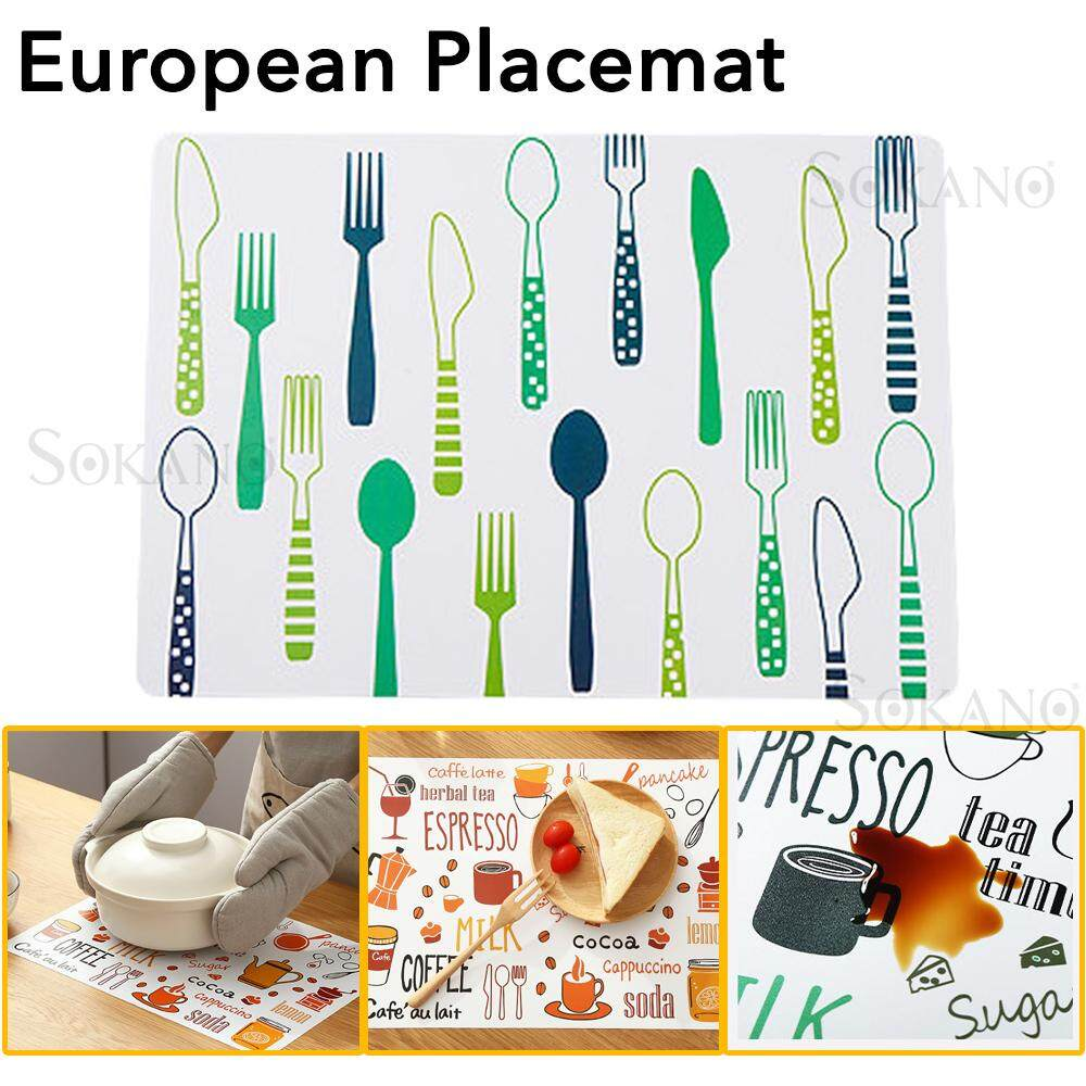 SOKANO KD01 Printed Style 40X28cm Table Placemats PVC Waterproof Dining Kitchen