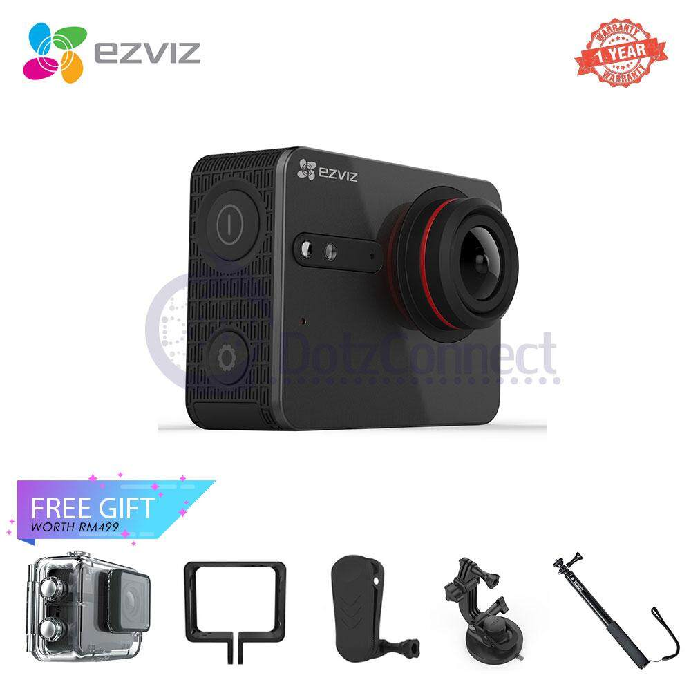 Ezviz S5 Plus Action Camera with Selfie Stick, Frame, Bag Clip, Additional Waterproof Case & Vehicle-Mounted Suction Cup