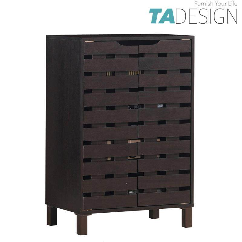 TAD TROIS 2 door shoe rack cabinet with good air ventilation-Walnut