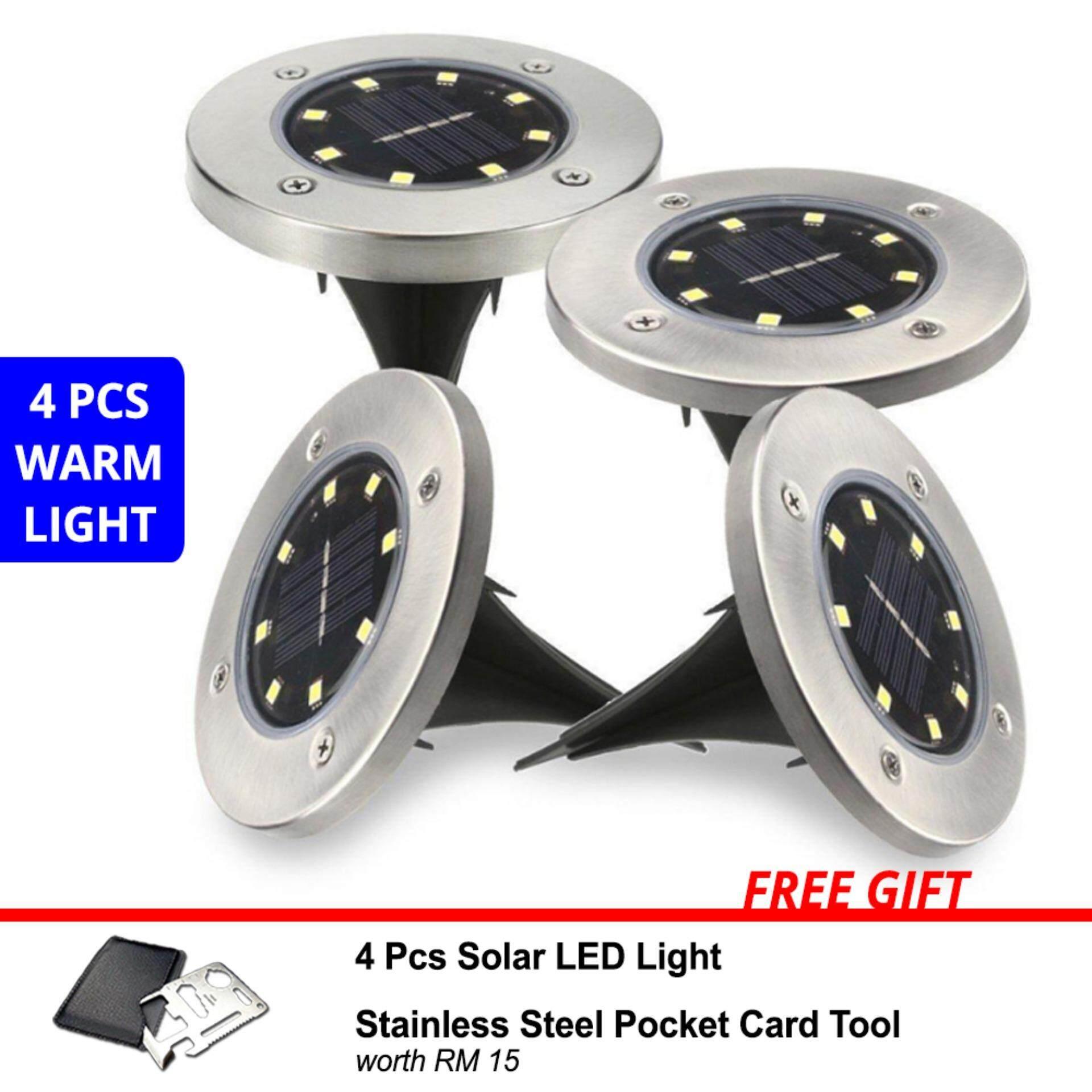 4 Pcs Solar LED Garden Outdoor Lighting Bright Light Waterproof Night Auto On Floor Light