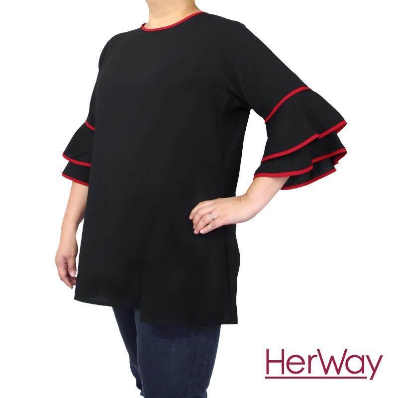 HERWAY PLUS SIZE Ladies Piped Belt Blouse HW9050 (Black)