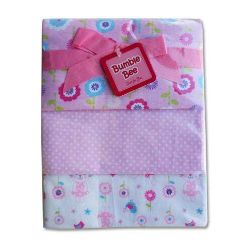 Bumble Bee 3pcs Receiving Blanket (Pink Flower)