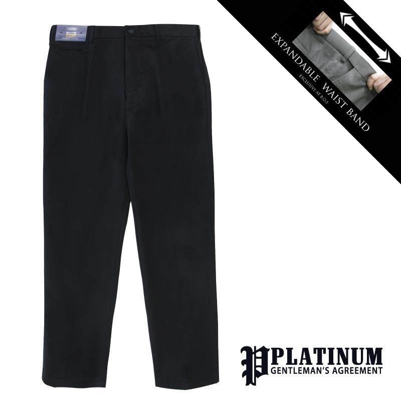 PLATINUM BIG SIZE EWB Fat Front Chinos LP Fine Cotton PM655 (Black)