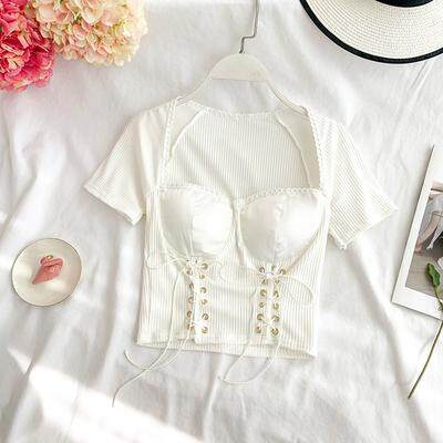 ?PRE-ORDER 21 DAYS?Strap low-cut waist short-sleeved square collar tube top bottoming shirt