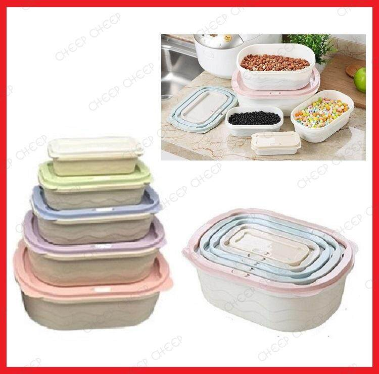 5 Nesting Stackable Rectangular Food Container Pastel Rainbow Color Space Saving Multipurpose Storage Box BPA-free Plastic