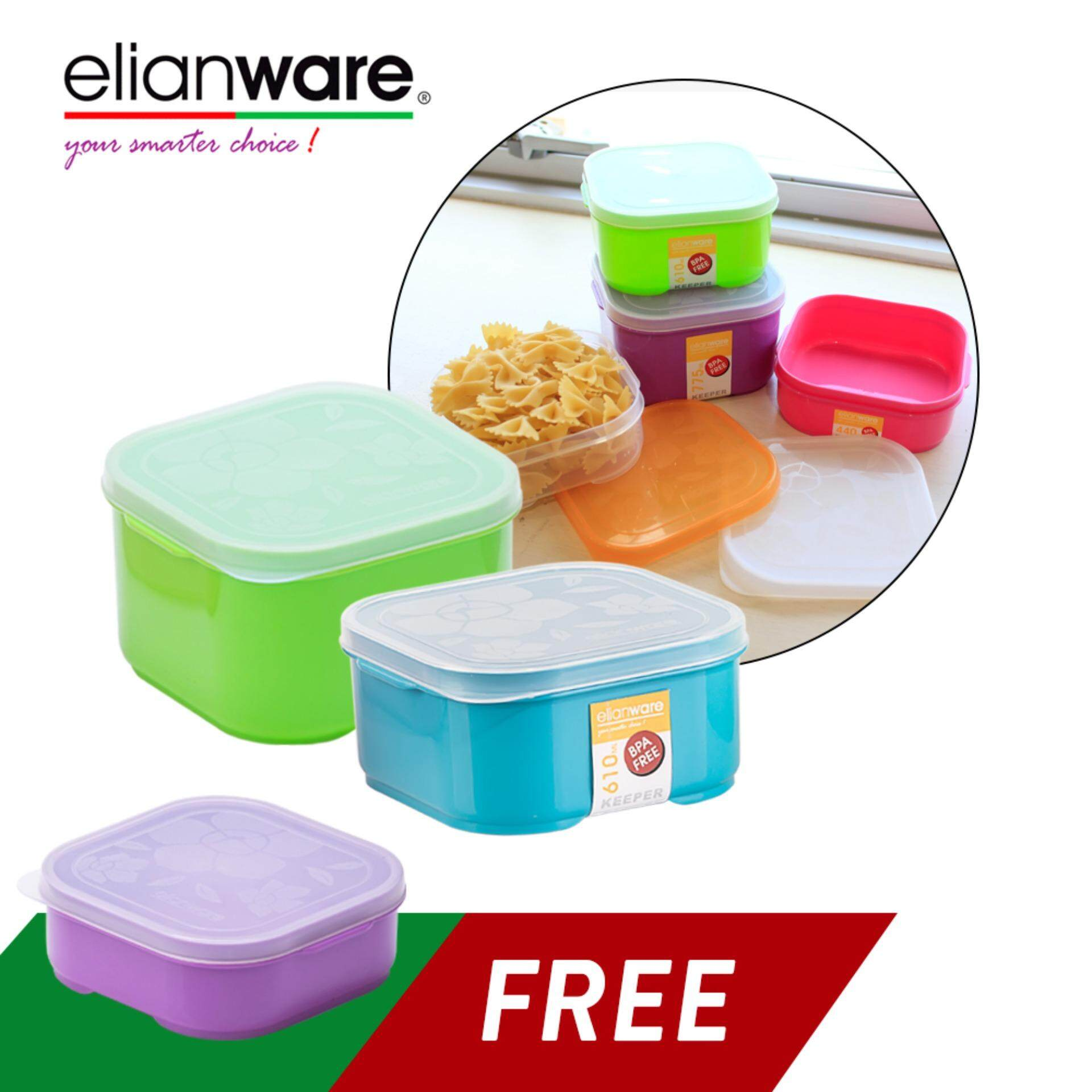 Elianware 3 Pcs Square Colourful Plastic Food Containers Set BPA Free