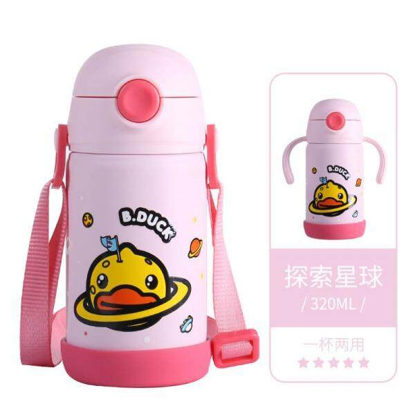 Original FACE 320mL B Duck Thermos Thermal Vacuum Insulated Flask Water Bottle Tumbler Trainer Cup with Handle Grips for Baby and Kids FREE GIFT