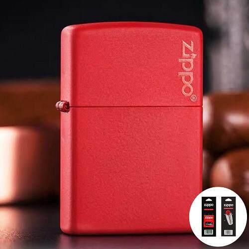 Red Matte with Zippo Logo Zippo Lighter - Free Zippo Flints & Wick