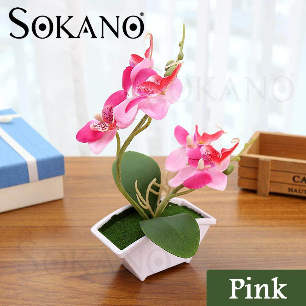 SOKANO Butterfly Orchid with Flowerpot Potted Artificial Plant Home Garden Office Decoration Home Deco Decorative Plant for AirBnB, House, Office, Café and Restaurant