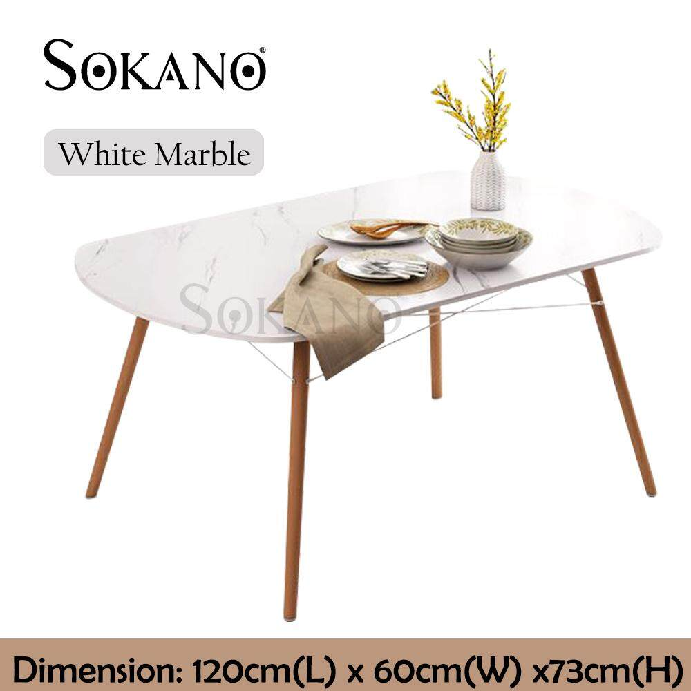 SOKANO N68 Artic Design European Style Dining Table Dining Space Table for Home, Café, Air BnB with Wooden Legs and Coated Surface (120cm x 60cm)